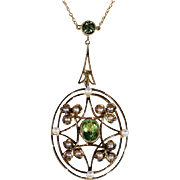 SALE Antique Edwardian Peridot and Pearl Negligee Necklace in 9k Gold