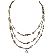 Antique French Import Long Gaurd Silver Chain, 55 Inches