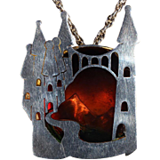 Whimsical Vintage Fairytale Castle Sterling and Resin Pendant Necklace, Hallmarked 1978