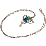 Antique Sterling Silver and Enamel Arts and Crafts Necklace Pendant, Hallmarked 1907