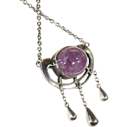 Antique Art Nouveau Silver Necklace with Cabochon Amethyst Gem