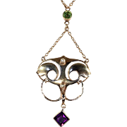 Antique Murrle, Bennett & Co Arts & Crafts Necklace with Pearl, Amethyst and Peridot in 9k Gol