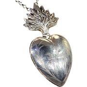 French Silver Sacred Heart Reliquary Ex Voto Locket Pendant with Silver Chain Necklace