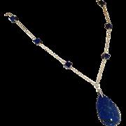Art Deco Lapis Lazuli Necklace with Teardrop Pendant