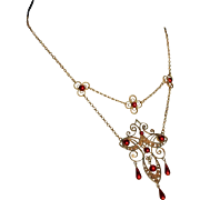 SALE Rare Marius Hammer Red Enamel and Silver Gilt Festoon Necklace, c. 1910
