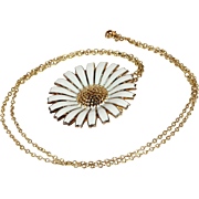 """Vintage Georg Jensen Daisy Pin Pendant Necklace with 26"""" Chain, Gold Plated Sterling"""