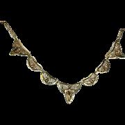 Antique Belgian 18k Necklace, Revivalist Style