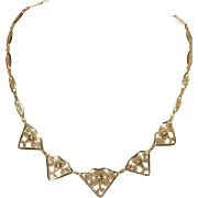"""Antique French 18k Gold Hearts and Swirls Necklace, 18"""" Long"""