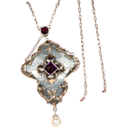 Lovely Edwardian Sterling Silver and Gold Amethyst and Pearl Pendant