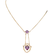 Fantastic Edwardian Amethyst Heart and Pearl Necklace in 9k Gold, c. 1905