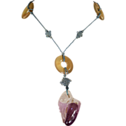 Art Deco Sautoir Necklace with Lavender Jade Eggplant on Silk Cord