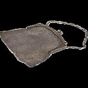SALE Vintage Art Deco 'Tiffany & Company' Silver Mesh Handbag Purse with Sapphire Clasp, c