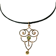 Antique Victorian Peridot and Pearl Lavaliere Pendant in 9k Gold