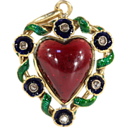 Antique Heart-Shaped Garnet Pendant with Enamel and Rose Cut Diamond, 18k Gold, c. 1870