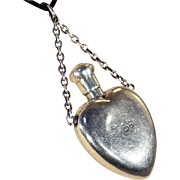 SALE Antique Sterling Silver Heart-Shaped Perfume Bottle Pendant