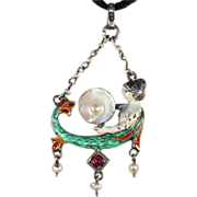 SALE Antique Austro-Hungarian Mermaid Pendant with Pearls, Enamel and Ruby