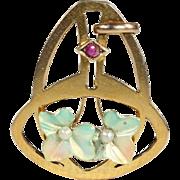 SALE Antique Art Nouveau Enamel, Ruby and Pearl Pendant in 9k Gold