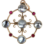 SALE Antique Child & Child Moonstone and Ruby Pendant in 9k Gold, c. 1900