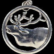 SALE Vintage Scandinavian Elk or Reindeer Silver Pendant - Midcentury Modern