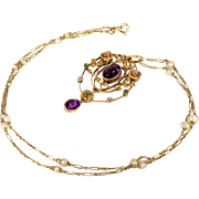 Exceptional 15k Gold Murrle Bennett and Company Diamond, Amethyst and Demantoid Garnet 'Suffra