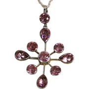 SALE Edwardian Foiled Bright Pink Paste Silver Pendant c.1910 (Pearl chain not included)