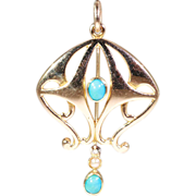 SALE Antique Art Nouveau Pendant with Turquoise and Pearl, 15k Gold