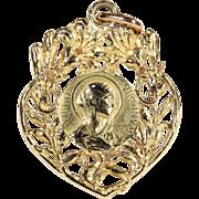 SALE Antique 18 Karat Gold European Art Nouveau Virgin Mary Heart Shaped Pendant c.1910