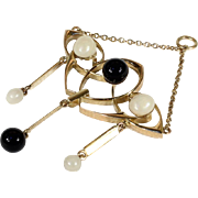 Vintage Art Deco 15k Gold Pendant with Black Onyx and White Pearls