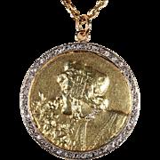 Antique Art Nouveau Diamond Pendant with Woman in Head Dress, 18k Gold