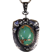 SALE Antique Arts & Crafts Turquoise and Hammered Silver Necklace, c. 1900