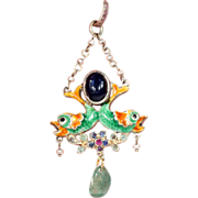SALE Antique Austro-Hungarian Enamel Double Fish Pendant with Sapphires, Ruby, Emerald and ...