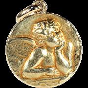 Vintage Art Deco Angel Pendant, French 18k Gold