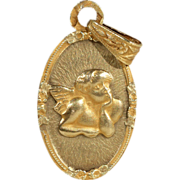 Vintage French Angel Pendant in 18k Gold, c. 1920