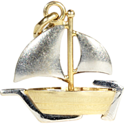 Fantastic Vintage Sailboat Charm in 18k White and Yellow Gold