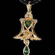 Antique Art Nouveau Pearl and Green Tourmaline Lavalier Pendant, 15k Gold, Scottish