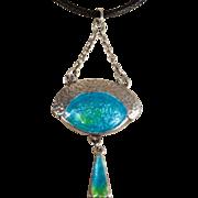 Antique Silver Arts and Crafts Enamel Pendant c.1900