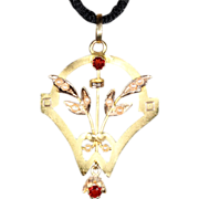 Antique French 18k Gold Pendant set with Pearls and Fire Opals