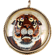 Antique Essex Crystal Tiger in 9kt Gold Frame