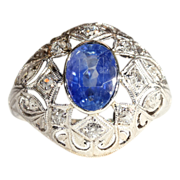 Antique Edwardian Sapphire and Diamond Dome Ring, *VIDEO*