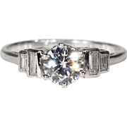 Gorgeous Vintage Diamond Engagement Ring, Platinum Solitaire 1ctw