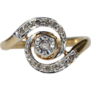 Antique French 18k Gold & Platinum Swirly Ring with Rose Cut Diamonds