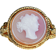 SALE Antique Hard Stone Cameo Ring, Conversion in 14k & 18k Gold