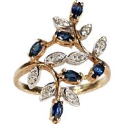 Vintage Sapphire and Diamond Branch and Leaf Ring