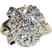 Vintage Art Deco Diamond Cluster Ring with 1.9ctw, 14k & 18k Gold c.1925, *VIDEO*