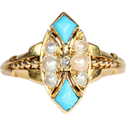 SALE Antique Victorian Pearl, Turquoise, and Diamond Ring, 18k Gold Navette