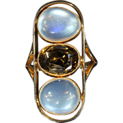 Large Antique Arts & Crafts Moonstone and Citrine Ring in 14k Gold, *VIDEO*