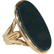 Fantastic Oval Bloodstone and Gold Ring for a Man or Woman