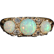 SALE PENDING Colorful Vintage 3 Opal and Diamond Ring, London 1961