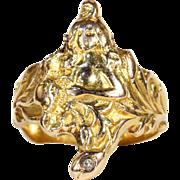 Antique Art Nouveau 18k Diamond Lady and Flowers Ring