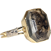Antique Picture Agate Ring in 14k Gold and Silver, Owl Detail